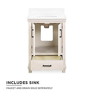 Atwater Living Mills 24 Inch Bathroom Vanity with Sink, Rustic White, Rustic White, large