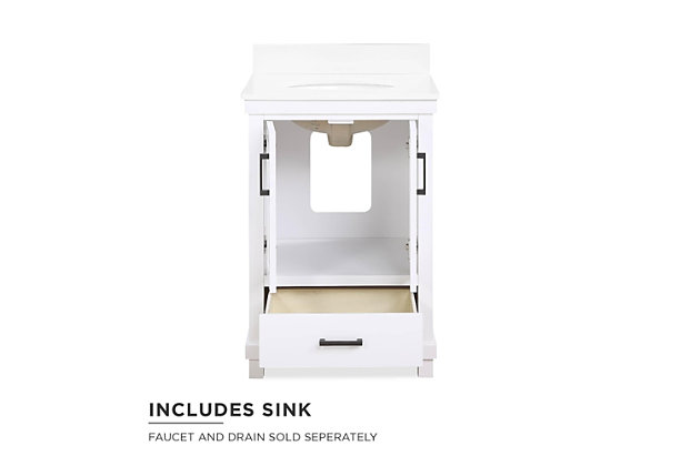 Atwater Living Mills 24 Inch Bathroom Vanity with Sink, White, White, large