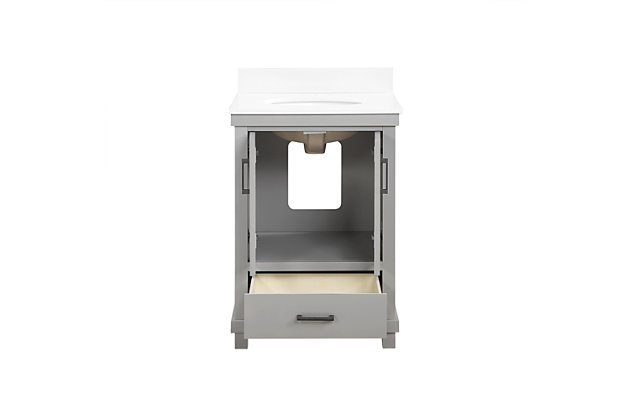 Atwater Living Mills 24 Inch Bathroom Vanity with Sink, Gray, Gray, large
