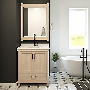 Atwater Living Mills 30 Inch Bathroom Vanity with Sink, Rustic White, Rustic White, rollover