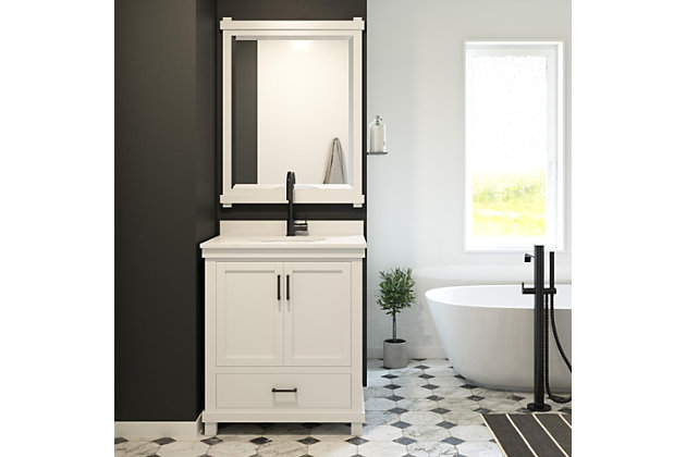 Atwater Living Mills 30 Inch Bathroom Vanity with Sink, White, White, large
