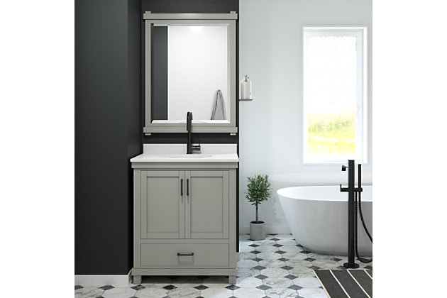 Atwater Living Mills 30 Inch Bathroom Vanity with Sink, Gray, Gray, large