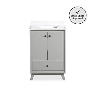 Atwater Living Delias 24 Inch Bathroom Vanity with Sink, Gray, Gray, large