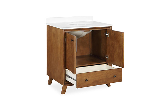 Atwater Living Delias 30 Inch Bathroom Vanity w/ Sink, Chocolate Spice, Chocolate, large