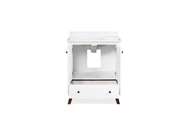 Atwater Living Delias 30 Inch Bathroom Vanity with Sink, White, White, large