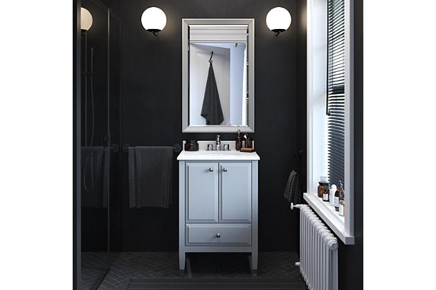 Atwater Living Brinley 24 Inch Bathroom Vanity with Sink, Gray, Gray, large
