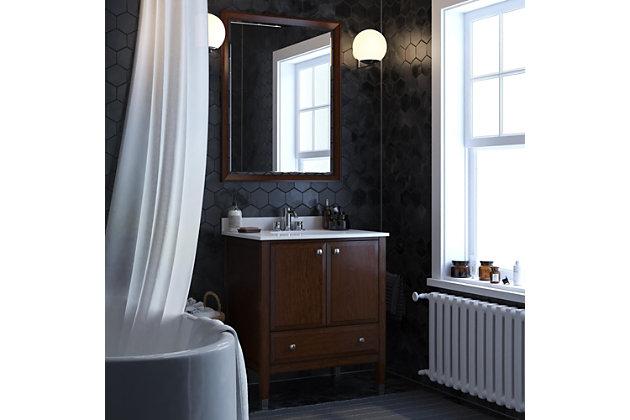 Atwater Living Brinley 30 Inch Bathroom Vanity with Sink, Walnut, Walnut, large