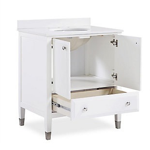 Atwater Living Brinley 30 Inch Bathroom Vanity with Sink, White, White, large