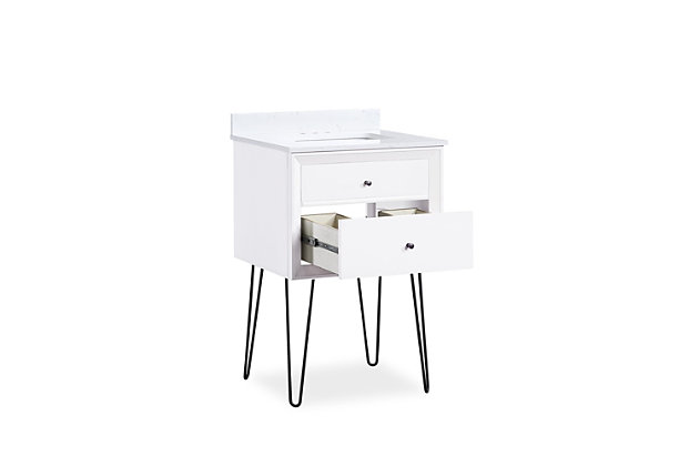 Atwater Living Agnes 24 Inch Floating Bathroom Vanity with Sink, White Wood, White, large
