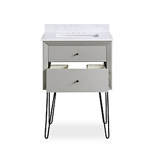 Atwater Living Agnes 24 Inch Floating Bathroom Vanity with Sink, Gray Wood, Gray, large