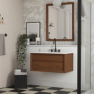 Atwater Living Agnes 36 Inch Floating Bathroom Vanity with Sink, Chocolate Spice Wood, Chocolate, large