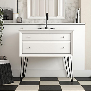 Atwater Living Agnes 36 Inch Floating Bathroom Vanity with Sink, White Wood, White, large