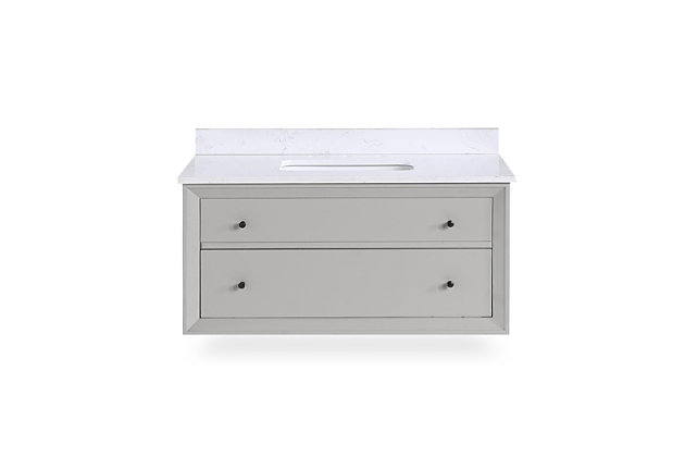 Atwater Living Agnes 36 Inch Floating Bathroom Vanity with Sink, Gray Wood, Gray, large