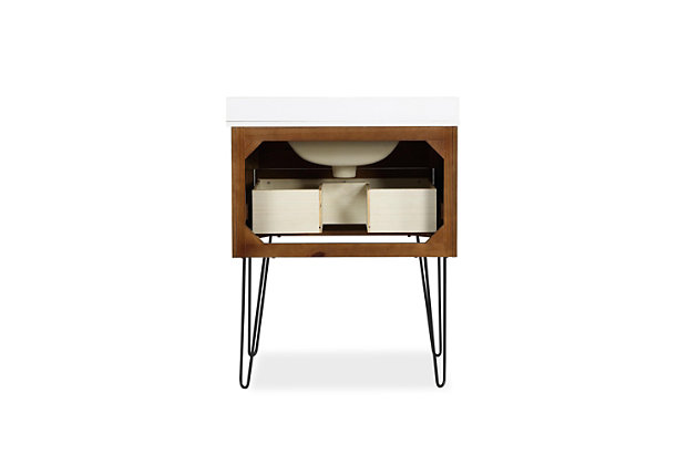 Atwater Living Agnes 30 Inch Floating Bathroom Vanity with Sink, Chocolate Spice Wood, Chocolate, large