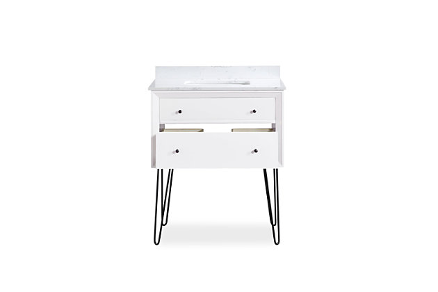 Atwater Living Agnes 30 Inch Floating Bathroom Vanity with Sink, White Wood, White, large