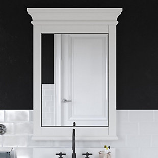 Atwater Living Jazmyne Bathroom Mirror, 24 Inch, White, White, rollover