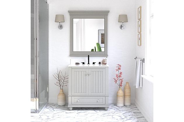 Atwater Living Jazmyne Bathroom Mirror, 30 Inch, Gray, Gray, large