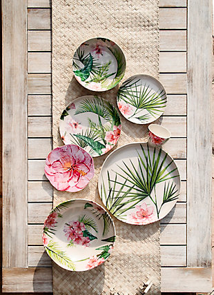 TarHong Palermo Tropical Bamboo Figural Salad Plate (Set of 6), , large