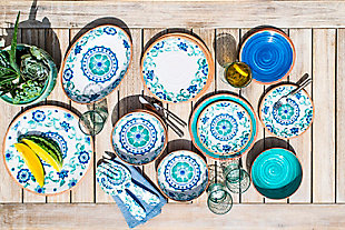 TarHong Rio Turquoise Floral Salad Plate (Set of 6), , rollover