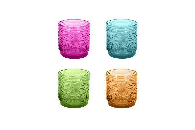 TarHong Tiki Assorted 18 oz DOF Drinkware (Set of 4), , large