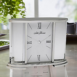 Seth Thomas Silver Glass Carriage Table Clock, , rollover