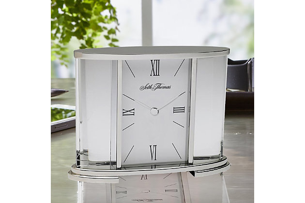 Seth Thomas Silver Glass Carriage Table Clock, , large