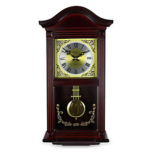Bedford 22 Inch Wall Clock in Mahogany Cherry Oak Wood, , large