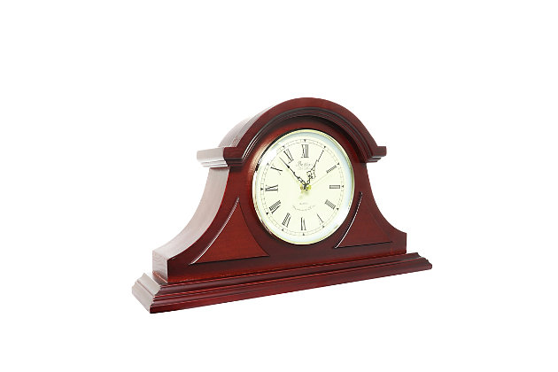 Bedford Redwood Tambour Mantel Clock with Chimes, , large