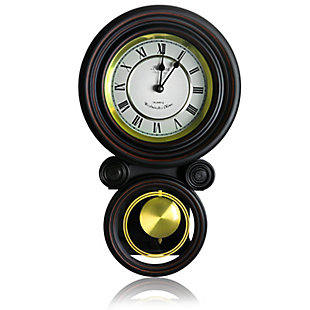 Bedford 16.5 Inch Round Wall Clock with Pendulum, , large