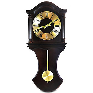Bedford 27.5 Inch Wall Clock in Chocolate Brown Oak Finish, , large