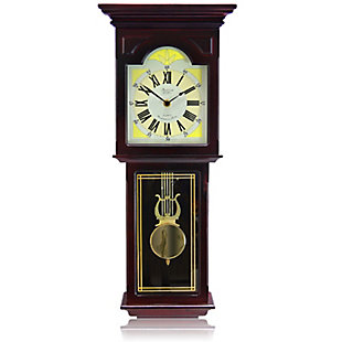 Bedford 23 Inch Redwood Oak Finish Wall Clock, , large