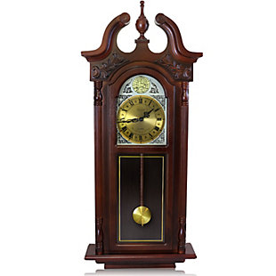 Bedford 38 Inch Grand Antique Chiming Wall Clock in a Cherry Oak Finish, , large
