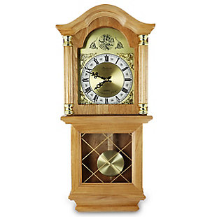 Bedford 26 Inch Wall Clock in Golden Oak Finish, , large