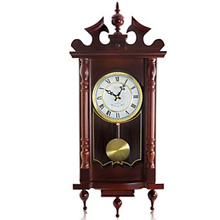 Bedford 31 Inch Wall Clock in Cherry Oak Finish, , large