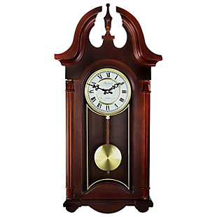 Bedford 26.5 Inch Wall Clock in Colonial Mahogany Cherry Oak Finish, , large