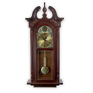 Bedford 38 Inch Wall Clock in Cherry Oak Finish, , large