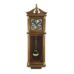 Bedford 34.5 Inch Wall Clock in Antique Harvest Oak Finish, , large