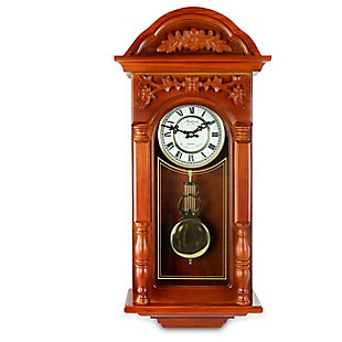 Bedford 27.5 Inch Oak Finish Pendulum Wall Clock, , large