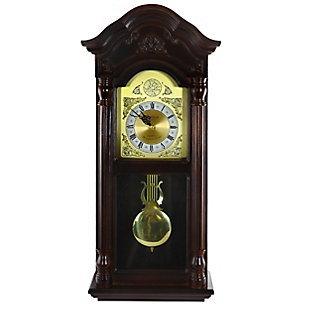 Bedford 25.5 Inch Antique Mahogany Cherry Oak Wall Clock, , large