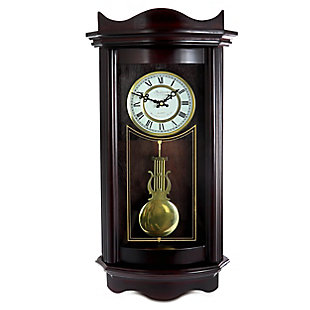Bedford 25 Inch Wall Clock in Weathered Chocolate Cherry Finish, , large