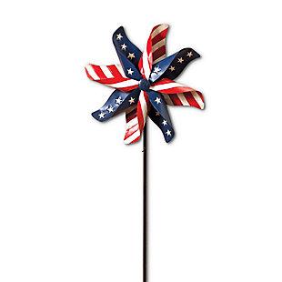 "Gerson 63""H Metal Americana Pinwheel Wind Spinner, , large"