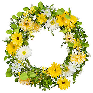 "Gerson 20"" Floral Daisy Floral Single Wreath, , large"