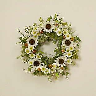 """Gerson 24"""" Sunflower Wreath with Berry Accents, , rollover"""
