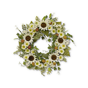 """Gerson 24"""" Sunflower Wreath with Berry Accents, , large"""