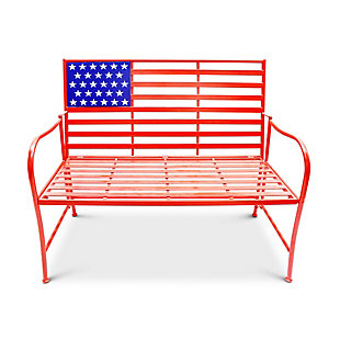"Gerson 41.5""L Metal Patriotic Bench, , large"