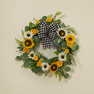 "Gerson 22"" Sunflower and Eucalyptus Wreath, , rollover"