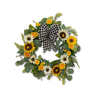 "Gerson 22"" Sunflower and Eucalyptus Wreath, , large"