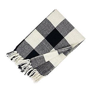 Elrene Home Fashions Farmhouse Living Buffalo Check Fringe Blanket Throw, Black, large