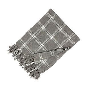 Elrene Home Fashions Farmhouse Living Double Windowpane Plaid Fringe Blanket Throw, Gray/White, large