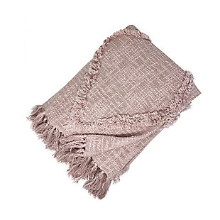 Elrene Home Fashions Farmhouse Living Aspen Diamond Tufted Fringe Blanket Throw, Blush, large